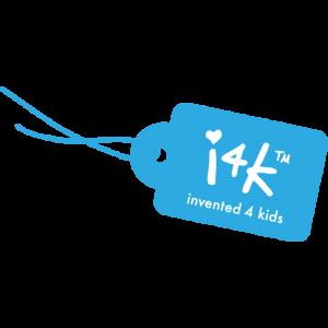 logo merk Invented 4 Kids, blauw labeltjes met tekst I4K Invented 4 Kids