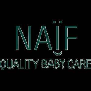 Logo merk Naïf, groene letters Naïf Quality Baby Care