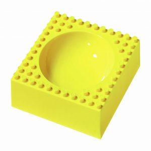 Geel ontbijtschaaltje, vierkant met van lego