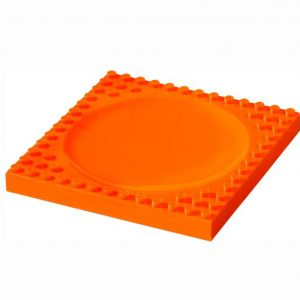 Vierkant oranje bord van lego