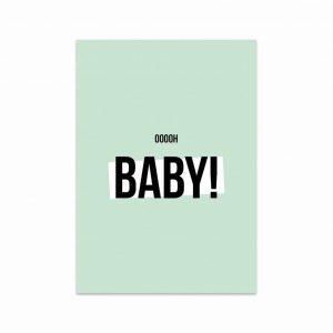 Pastel groene kaart met de tekst: ooooh baby