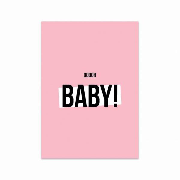 Pastel roze kaart met de tekst: ooooh baby