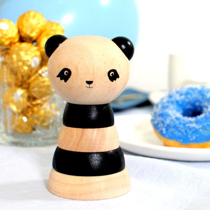 Hippe kraamcadeaus zwart-wit panda stapelaar